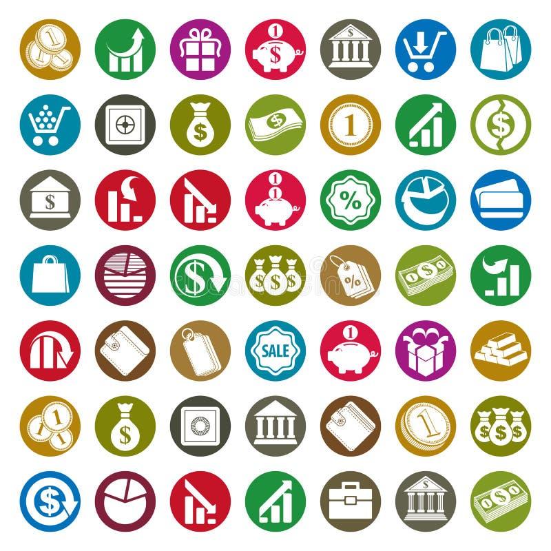 Διανυσματικό σύνολο εικονιδίων χρημάτων, σύμβολα θέματος χρηματοδότησης απεικόνιση αποθεμάτων