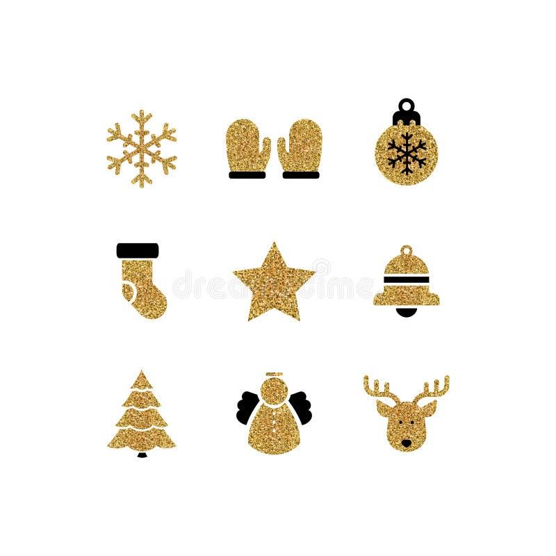 Διανυσματικό σύνολο εικονιδίων Χριστουγέννων διανυσματική απεικόνιση