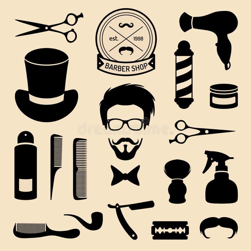 Διανυσματικό σύνολο εικονιδίων barbershop με το πρόσωπο hipster στο επίπεδο ύφος Hairdressing συλλογή στοιχείων σαλονιών ελεύθερη απεικόνιση δικαιώματος