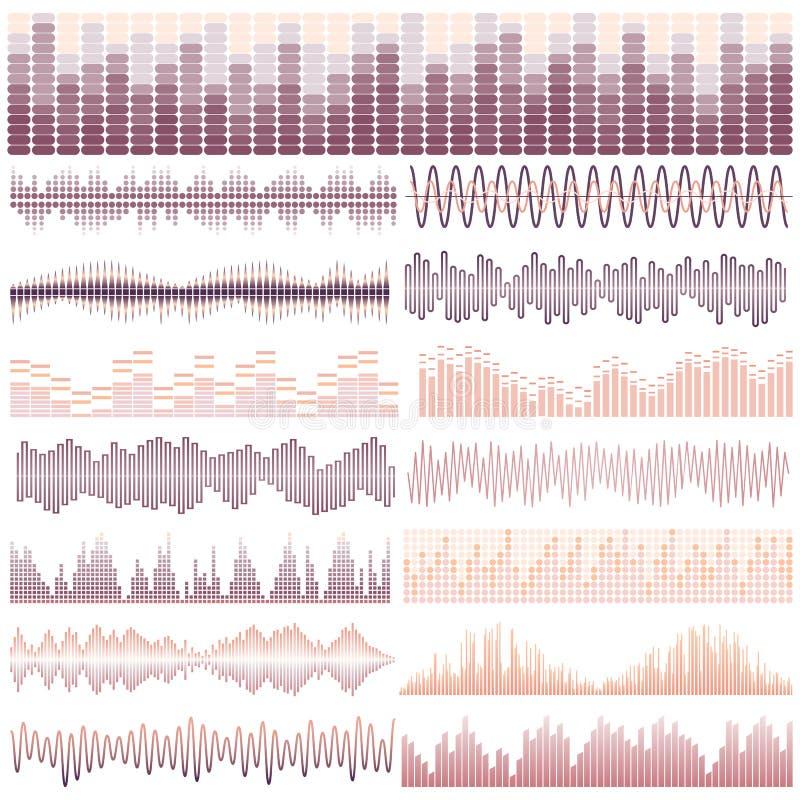 Διανυσματικό σύνολο δεκαπέντε υγιών κυμάτων Ακουστικός εξισωτής Υγιή & ακουστικά κύματα διανυσματική απεικόνιση