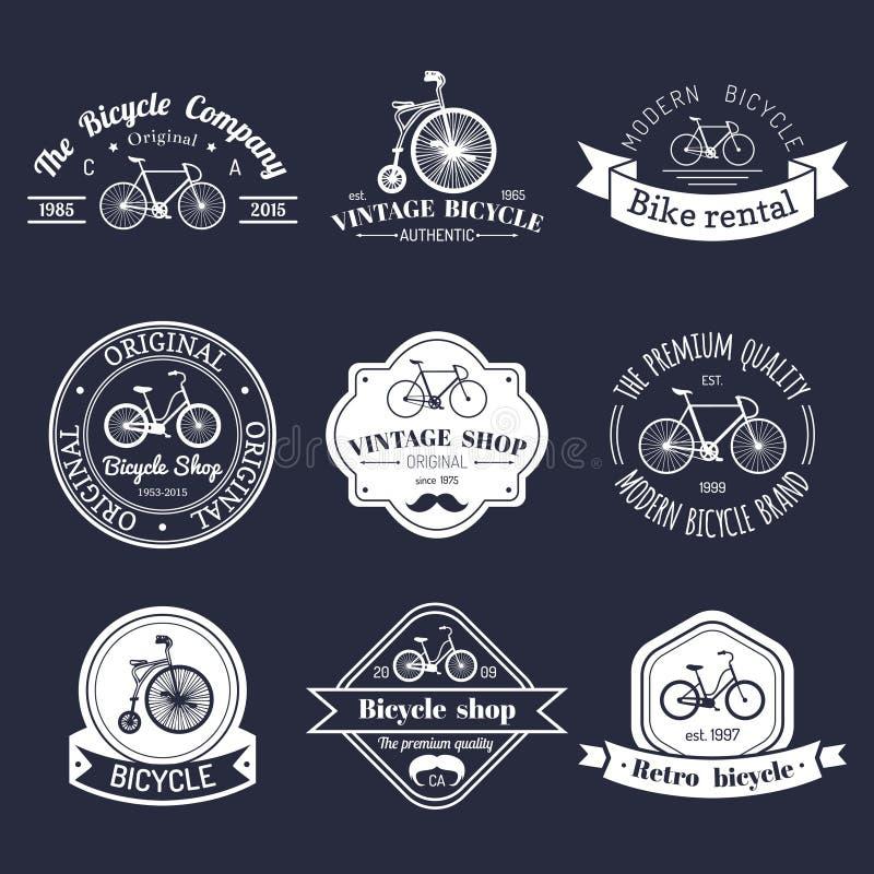 Διανυσματικό σύνολο εκλεκτής ποιότητας λογότυπου ποδηλάτων hipster Σύγχρονη συλλογή διακριτικών ή εμβλημάτων ποδηλάτων ελεύθερη απεικόνιση δικαιώματος