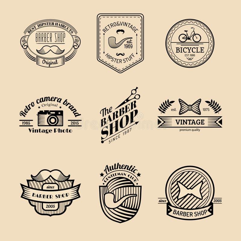 Διανυσματικό σύνολο εκλεκτής ποιότητας λογότυπου hipster Αναδρομική συλλογή εικονιδίων του ποδηλάτου, moustache, της κάμερας κ.λπ διανυσματική απεικόνιση