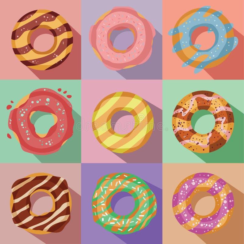 Διανυσματικό σύνολο εννέα νόστιμων ζωηρόχρωμων εικονιδίων donuts ελεύθερη απεικόνιση δικαιώματος