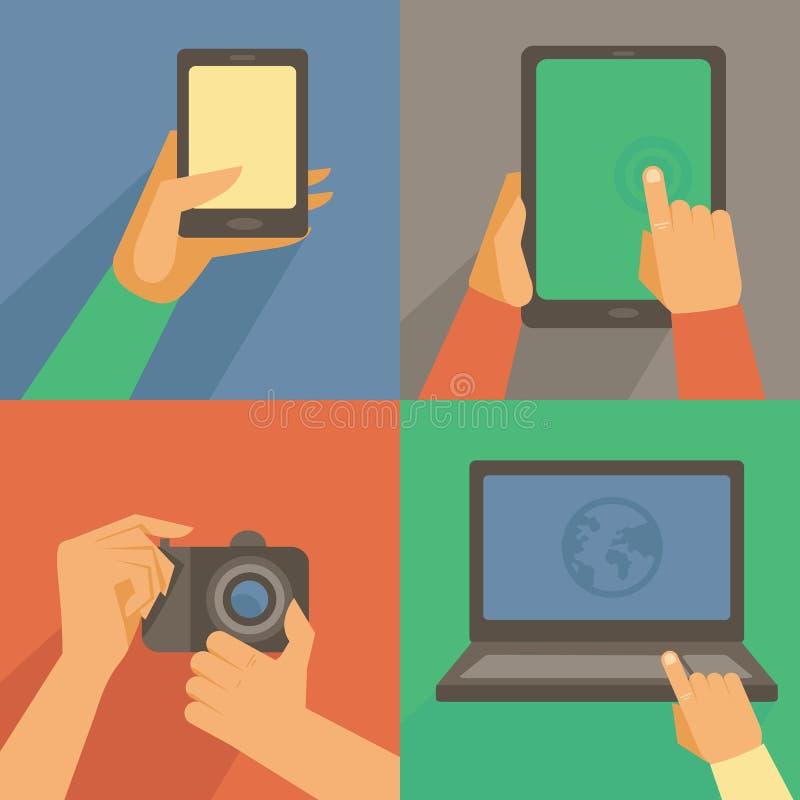 Διανυσματικό σύνολο επίπεδων εικονιδίων - κινητό τηλέφωνο, lap-top ελεύθερη απεικόνιση δικαιώματος