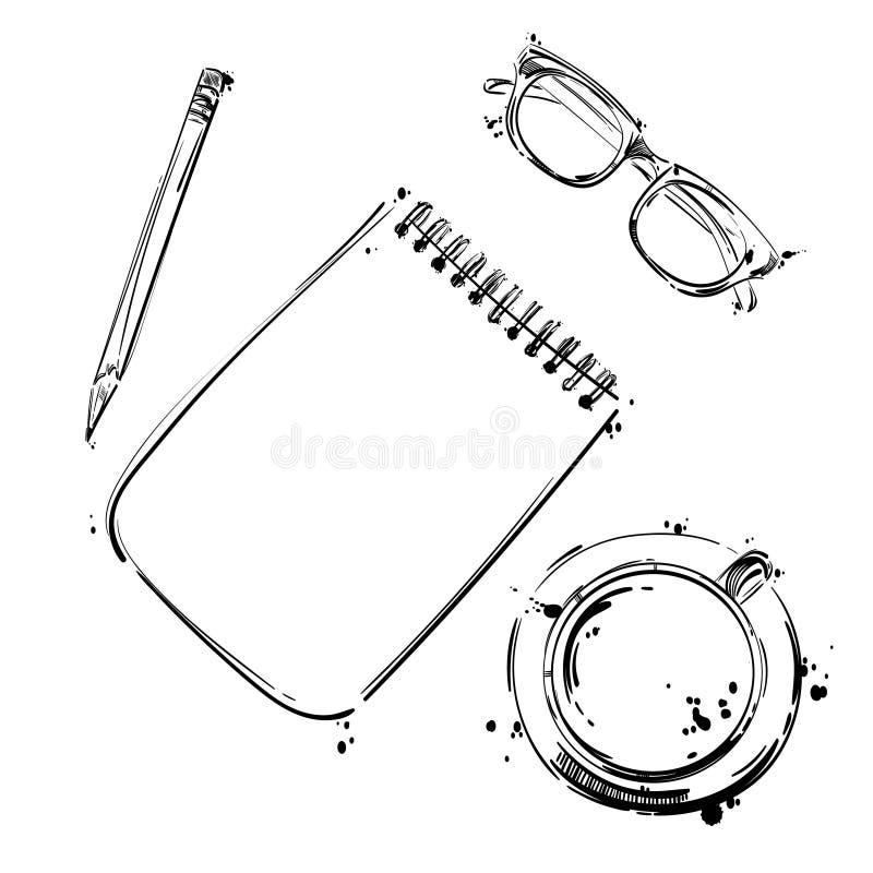 Διανυσματικό σύνολο εργαλείων εργασίας: σημειωματάριο, μάνδρα, γυαλιά, φλυτζάνι του coff απεικόνιση αποθεμάτων