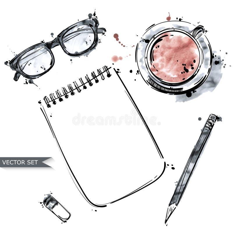 Διανυσματικό σύνολο εργαλείων εργασίας: σημειωματάριο, μάνδρα, γυαλιά, φλυτζάνι του coff ελεύθερη απεικόνιση δικαιώματος