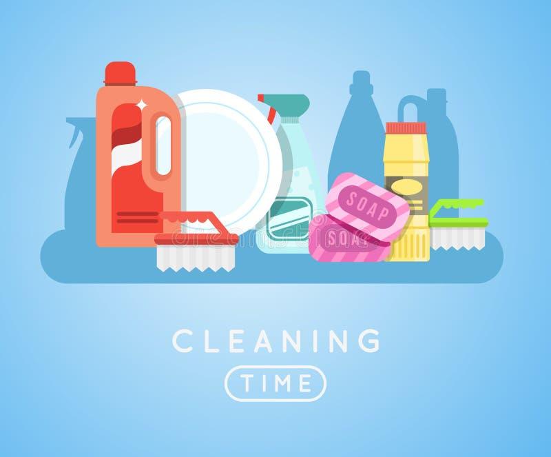 Διανυσματικό σύνολο εργαλείων καθαρισμού Απορρυπαντικά για τον καθαρισμό του σπιτιού ή του ξενοδοχείου ελεύθερη απεικόνιση δικαιώματος