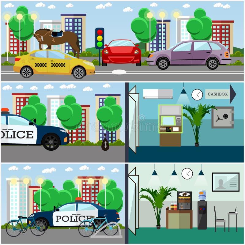 Διανυσματικό σύνολο εσωτερικών αφισών αστυνομίας, εμβλήματα στο επίπεδο ύφος διανυσματική απεικόνιση