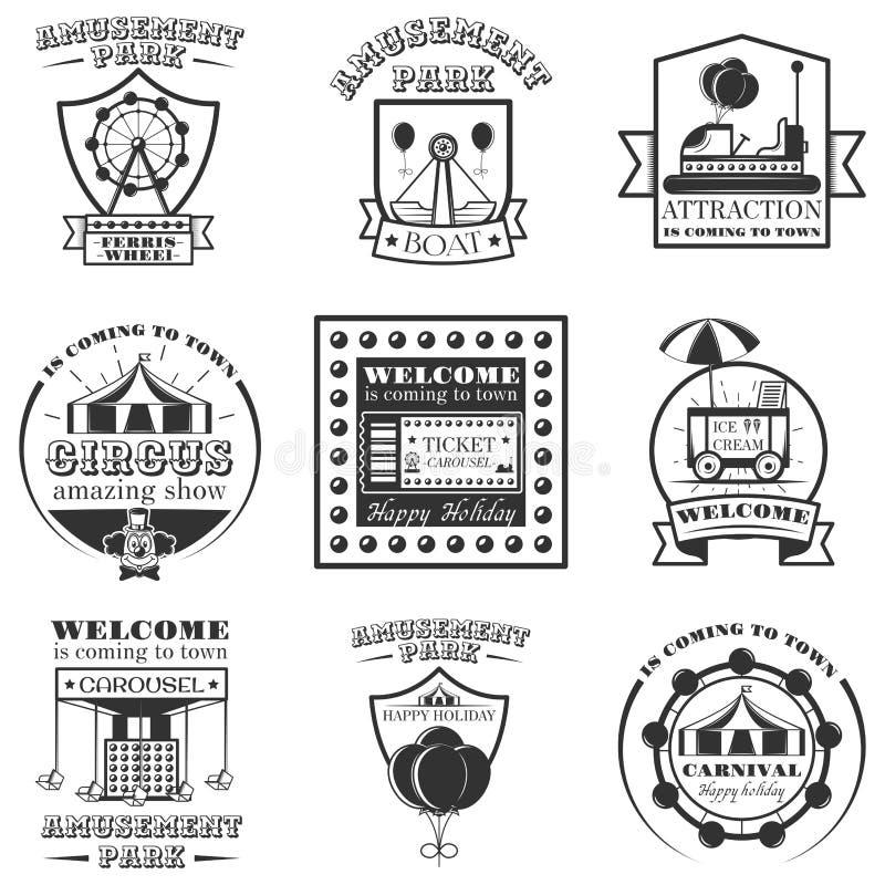 Διανυσματικό σύνολο ετικετών πάρκων amuesment και στοιχείων σχεδίου στο εκλεκτής ποιότητας ύφος Γραπτά σύμβολα λούνα παρκ, λογότυ διανυσματική απεικόνιση