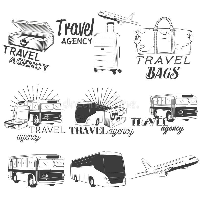 Διανυσματικό σύνολο ετικετών ταξιδιού και μεταφορών στο εκλεκτής ποιότητας ύφος Επιχείρηση λεωφορείων, αεροπλάνο, απεικόνιση τσαν ελεύθερη απεικόνιση δικαιώματος