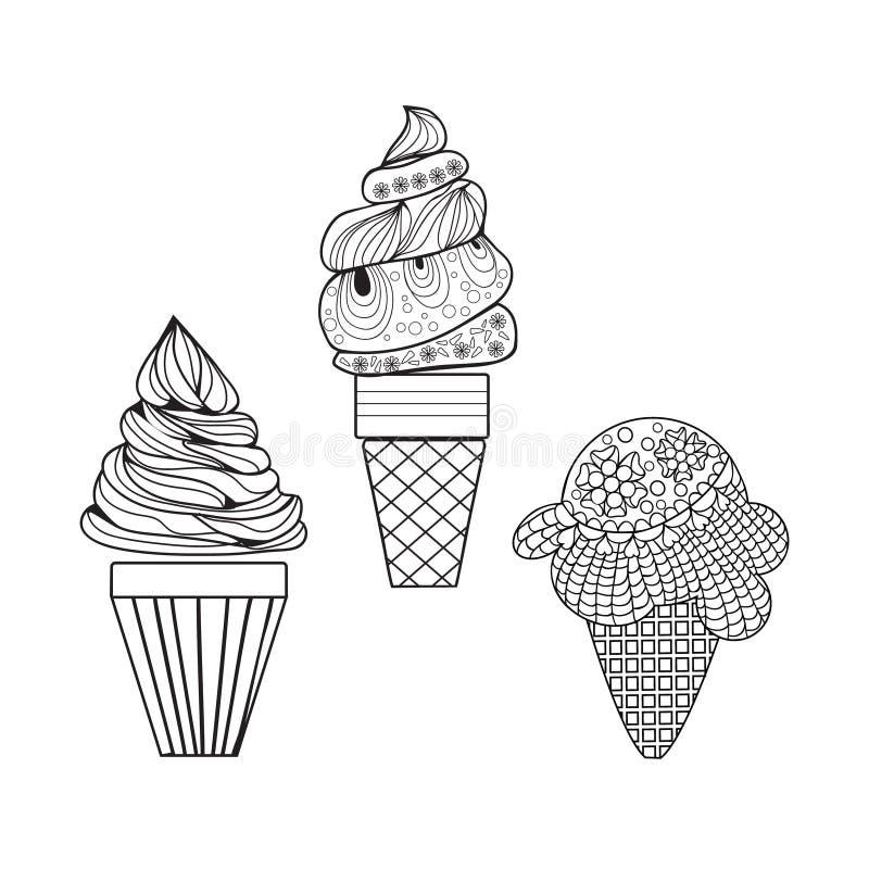 Διανυσματικό σύνολο εύγευστου ύφους παγωτών doodle διανυσματική απεικόνιση