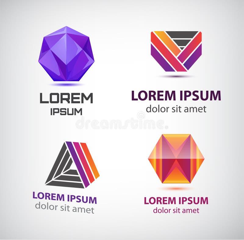 Διανυσματικό σύνολο ζωηρόχρωμων αφηρημένων λογότυπων Στοιχεία σχεδίου, ταυτότητα για την επιχείρηση, εικονίδια Ιστού ελεύθερη απεικόνιση δικαιώματος