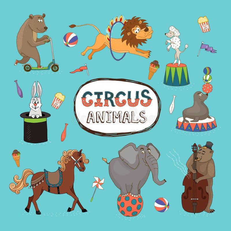 Διανυσματικό σύνολο ζωηρόχρωμων ζώων τσίρκων ελεύθερη απεικόνιση δικαιώματος
