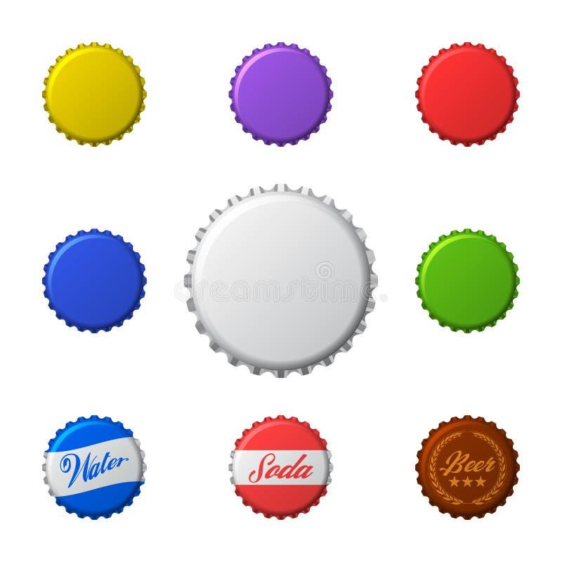 Διανυσματικό σύνολο ζωηρόχρωμων καλυμμάτων μπουκαλιών Απομονωμένος στο λευκό διανυσματική απεικόνιση