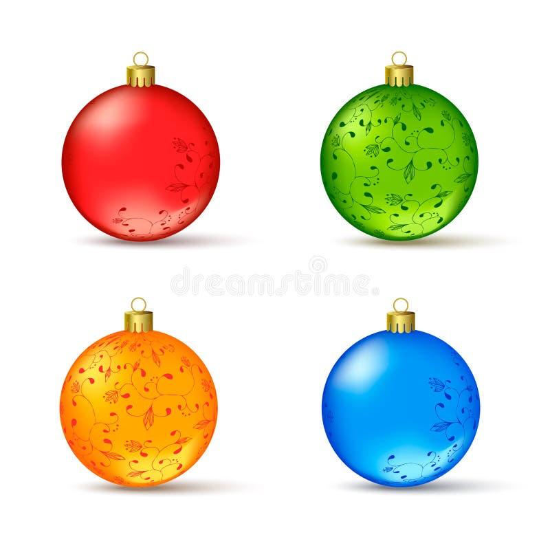 Διανυσματικό σύνολο ζωηρόχρωμων σφαιρών Χριστουγέννων στοκ εικόνα