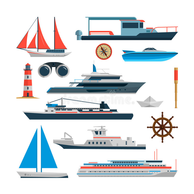 Διανυσματικό σύνολο θάλασσας σκαφών, βαρκών και γιοτ που απομονώνονται στο άσπρο υπόβαθρο Στοιχεία σχεδίου θαλασσίων μεταφορών, ε διανυσματική απεικόνιση
