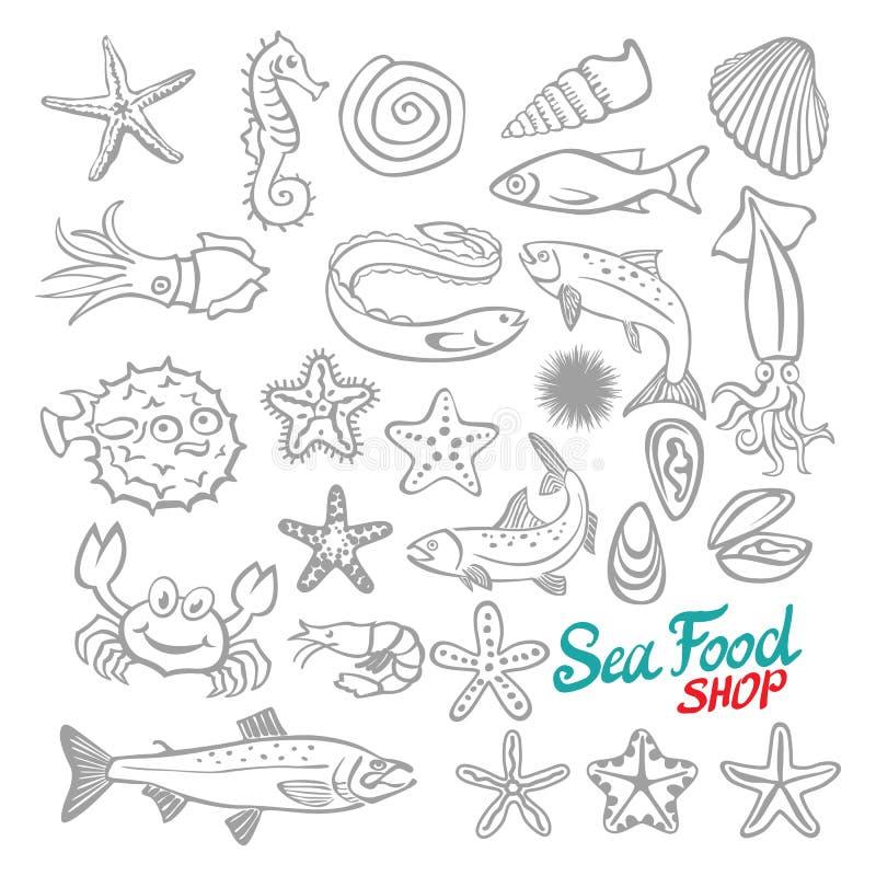 Διανυσματικό σύνολο θαλασσινών σκίτσων διανυσματική απεικόνιση