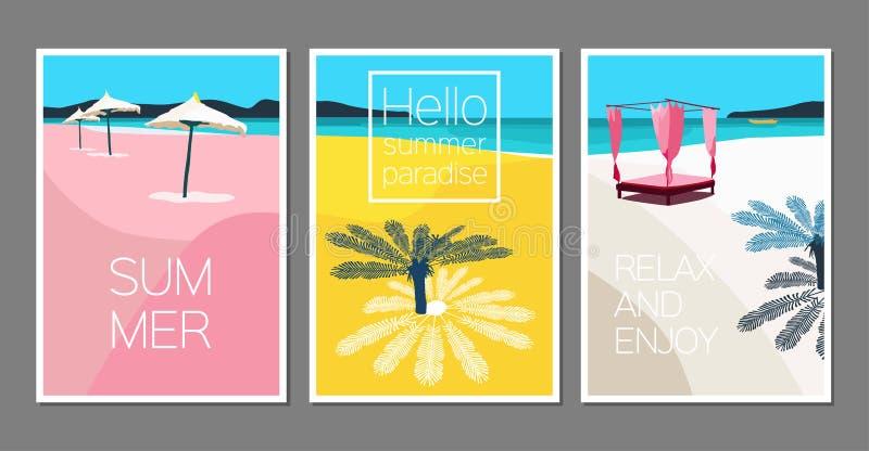 Διανυσματικό σύνολο θερινών καρτών Αφίσα διακοπών Σκηνή με το φοίνικα, θάλασσα, ομπρέλα θαλάσσης, βάρκα, νησί, καρέκλα παραλιών στοκ φωτογραφίες με δικαίωμα ελεύθερης χρήσης
