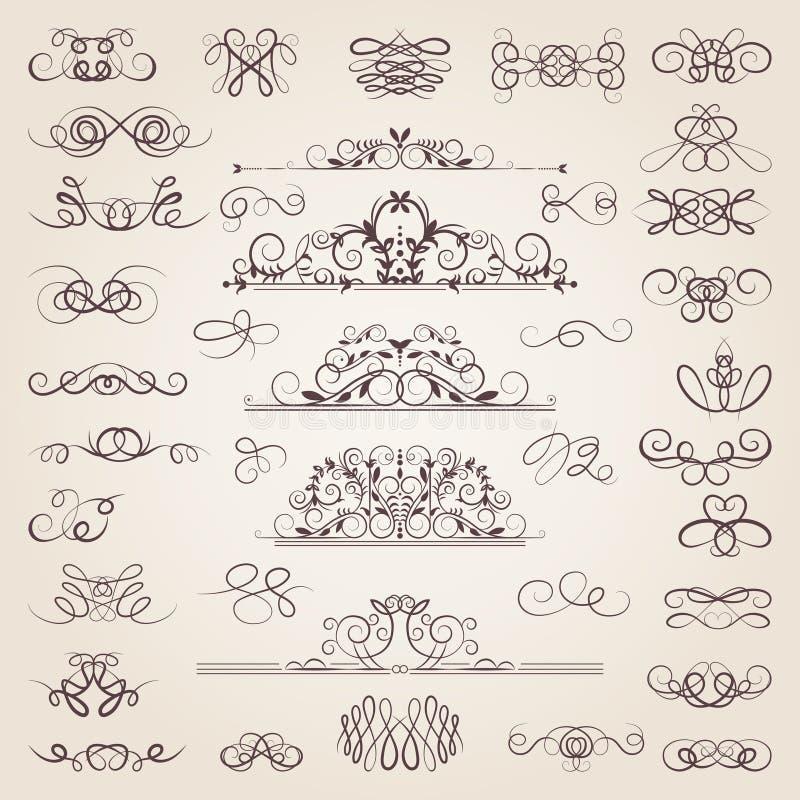 Διανυσματικό σύνολο διακοσμητικών κλασσικών στροβίλων και κτυπημάτων μεσαιωνικό σύνολο στοιχ ελεύθερη απεικόνιση δικαιώματος