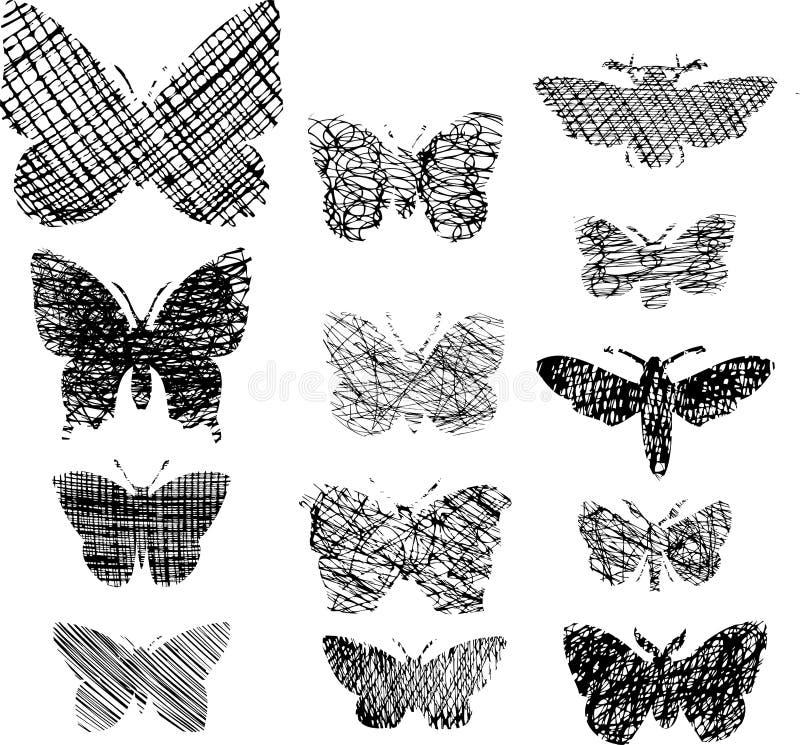 Διανυσματικό σύνολο διακοσμητικών πεταλούδων απεικόνιση αποθεμάτων