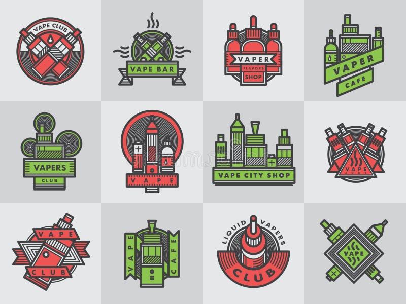Διανυσματικό σύνολο διακριτικών λογότυπων εμβλημάτων περιλήψεων vape απεικόνιση αποθεμάτων