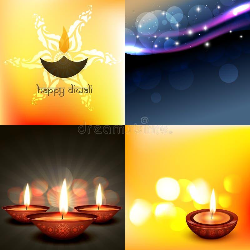 Διανυσματικό σύνολο διαφορετικής απεικόνισης υποβάθρου diwali ύφους απεικόνιση αποθεμάτων