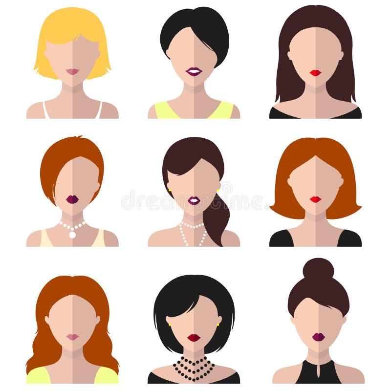 Διανυσματικό σύνολο διαφορετικών εικονιδίων γυναικών στο επίπεδο ύφος ελεύθερη απεικόνιση δικαιώματος