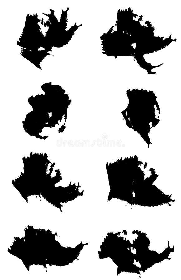 Διανυσματικό σύνολο 8 διαφορετικών κτυπημάτων βουρτσών grunge ελεύθερη απεικόνιση δικαιώματος