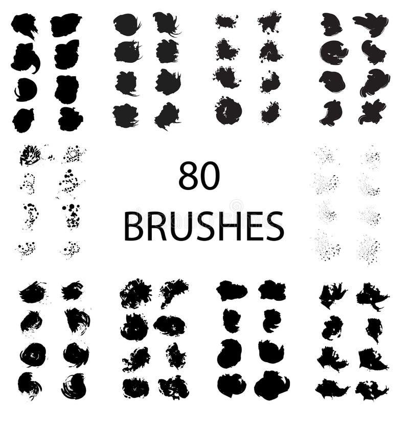 Διανυσματικό σύνολο 80 διαφορετικών κτυπημάτων βουρτσών grunge ελεύθερη απεικόνιση δικαιώματος