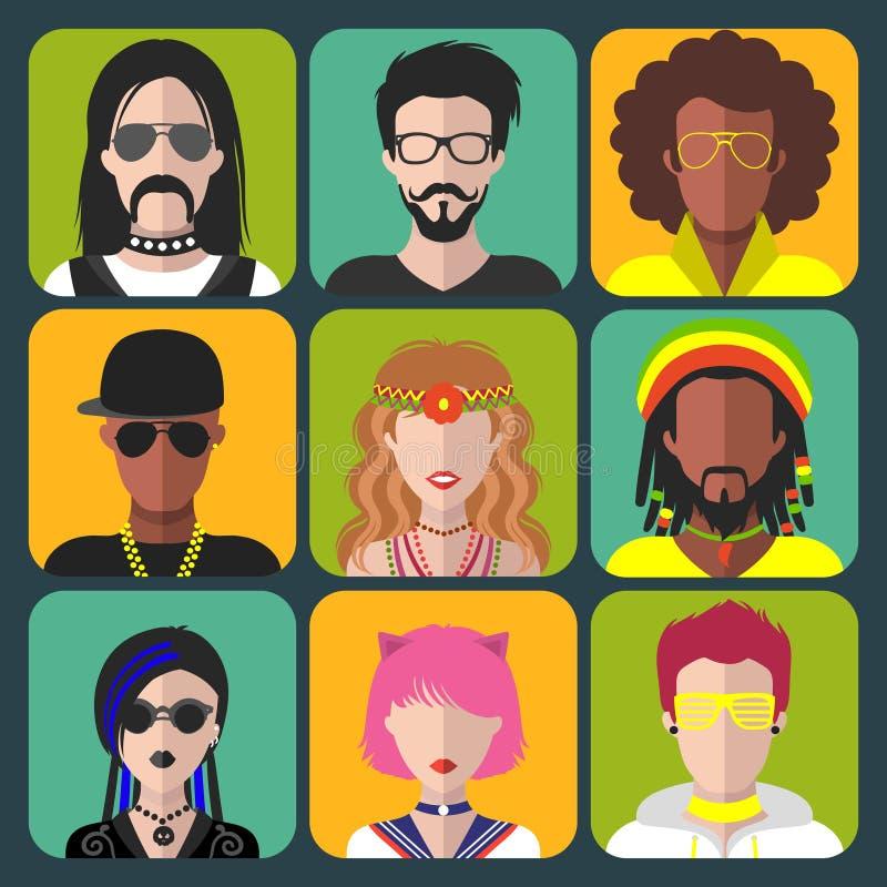 Διανυσματικό σύνολο διαφορετικών app ανδρών και γυναικών υποομάδων εικονιδίων στο καθιερώνον τη μόδα επίπεδο ύφος Goth, raper, χί ελεύθερη απεικόνιση δικαιώματος