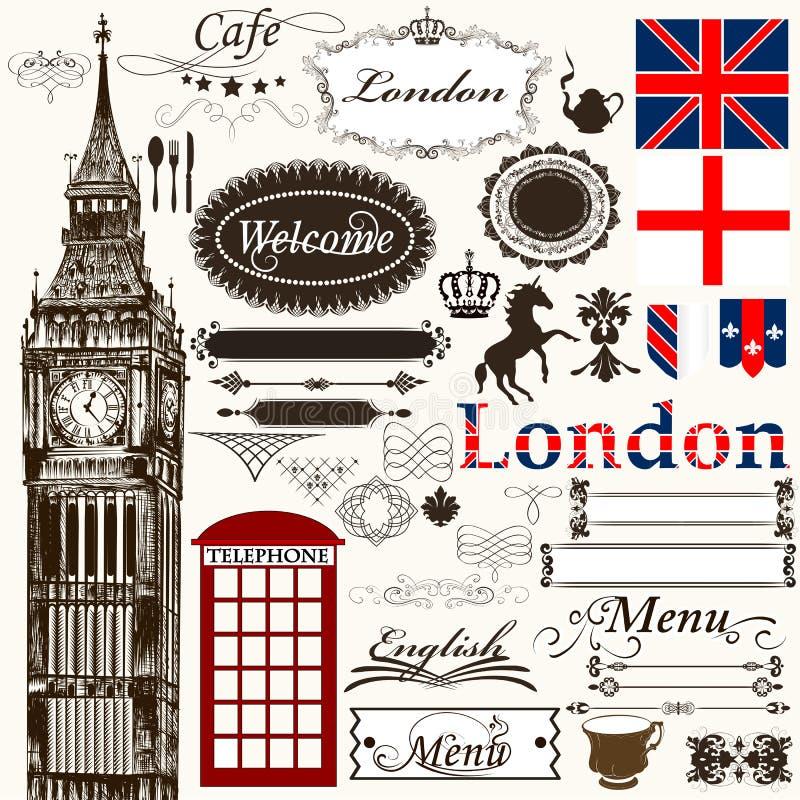 Καλλιγραφικό θέμα του Λονδίνου στοιχείων σχεδίου και διακοσμήσεων σελίδων διανυσματική απεικόνιση