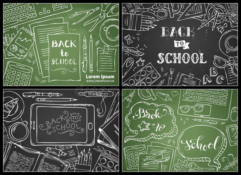 Διανυσματικό σύνολο κιμωλίας πίσω στα σχολικά υπόβαθρα διανυσματική απεικόνιση