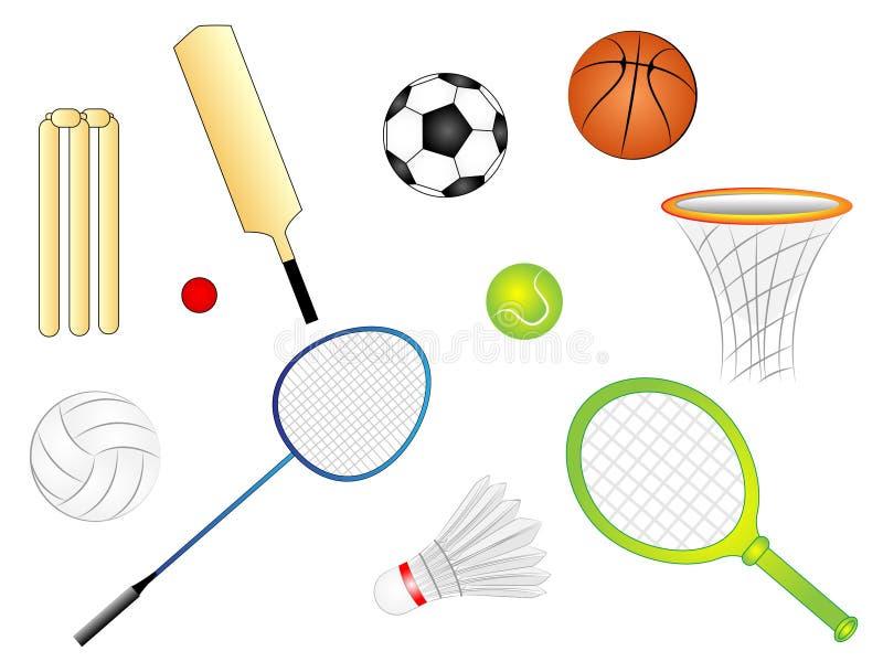 Διανυσματικό σύνολο κινούμενων σχεδίων αθλητικών στοιχείων ελεύθερη απεικόνιση δικαιώματος