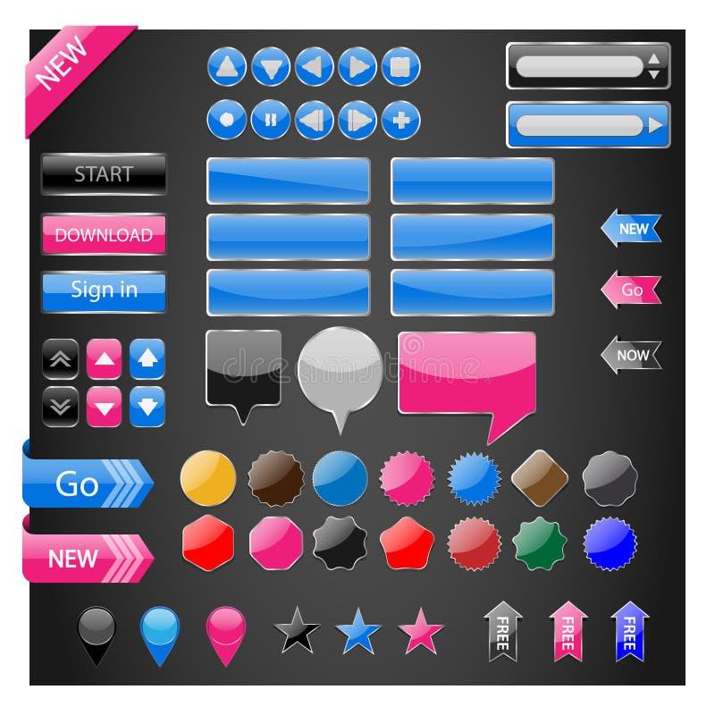 Διανυσματικό σύνολο κουμπιών στοιχείων Ιστού ελεύθερη απεικόνιση δικαιώματος