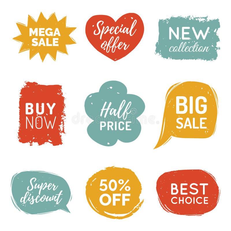 Διανυσματικό σύνολο κωμικών αυτοκόλλητων ετικεττών πώλησης λεκτικών φυσαλίδων Η συλλογή καρτών έκπτωσης, αγοράζει τώρα, ειδική πρ απεικόνιση αποθεμάτων