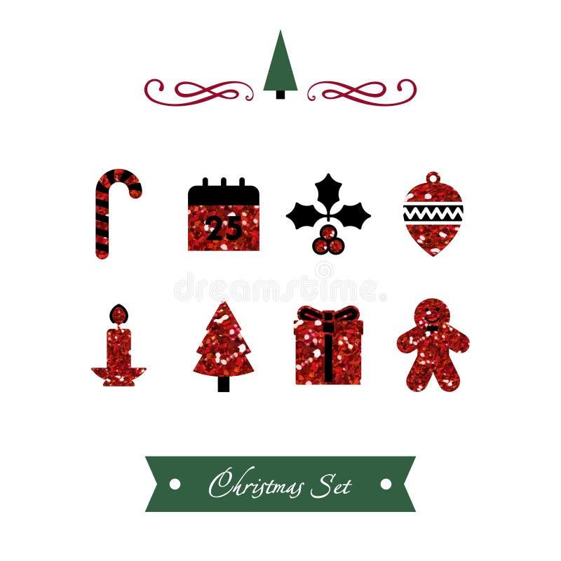Διανυσματικό σύνολο κόκκινων λαμπρών εικονιδίων Χριστουγέννων ελεύθερη απεικόνιση δικαιώματος