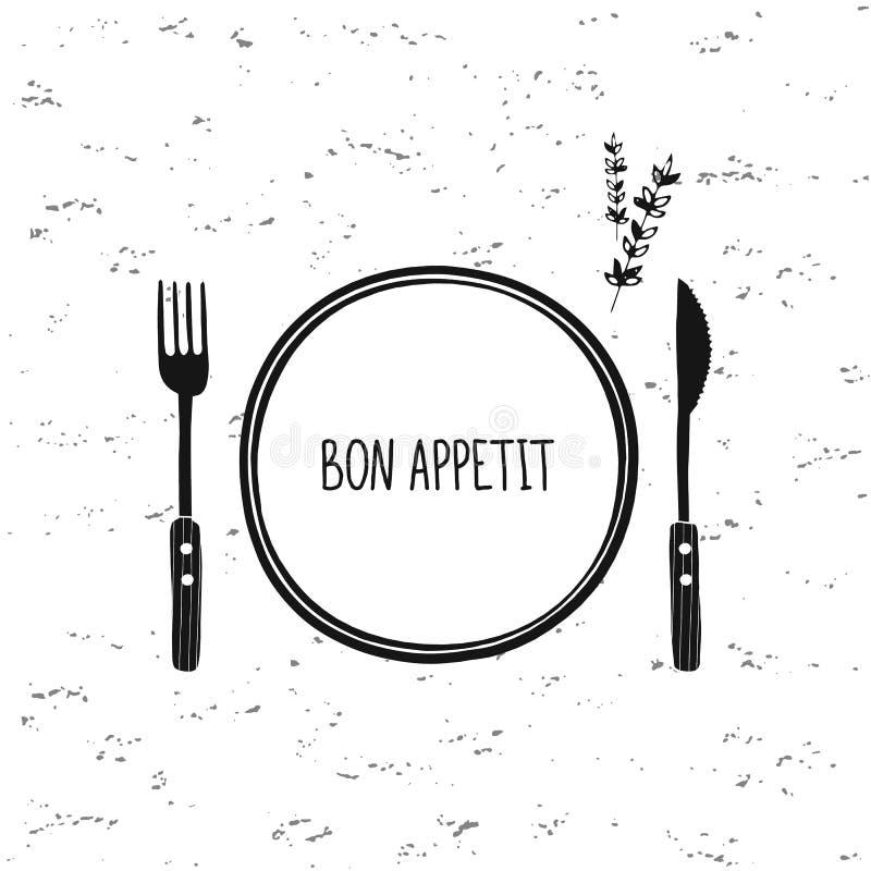 Διανυσματικό σύνολο μαχαιροπήρουνων Εικονίδιο πιάτων, δικράνων και μαχαιριών Σχέδιο καφέδων εστιατορίων Bon Appetit διανυσματική απεικόνιση