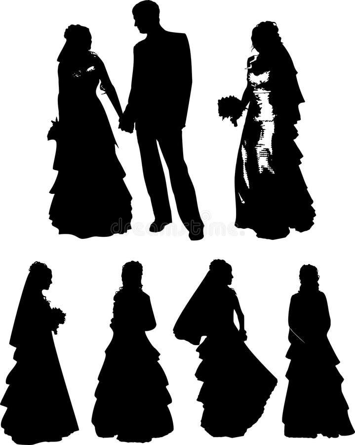 Διανυσματικό σύνολο μαύρων σκιαγραφιών ενός νέου κοριτσιού και ενός ατόμου με το όμορφο hairstyle, γαμήλιο φόρεμα και με μια ανθο απεικόνιση αποθεμάτων
