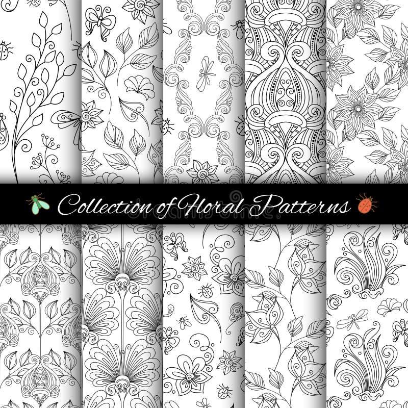Διανυσματικό σύνολο μονοχρωματικών άνευ ραφής Floral σχεδίων διανυσματική απεικόνιση