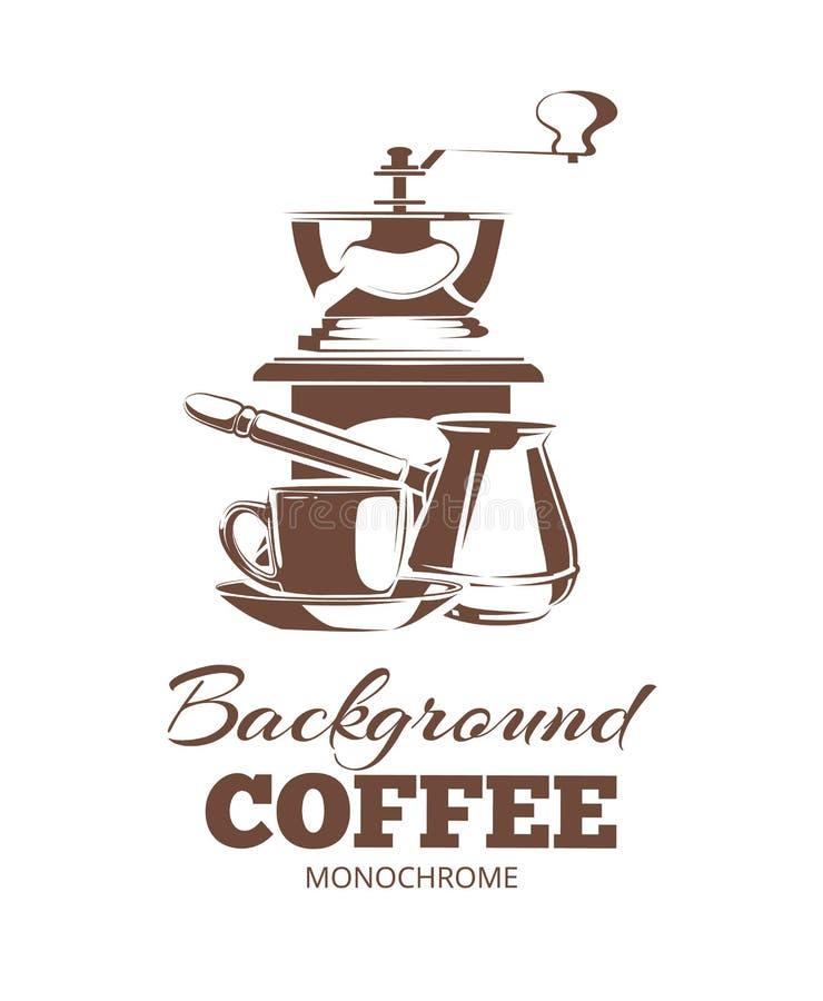 Διανυσματικό σύνολο μονοχρωματικών εμβλημάτων καφέ, ετικέτες, λογότυπα διακριτικών ελεύθερη απεικόνιση δικαιώματος