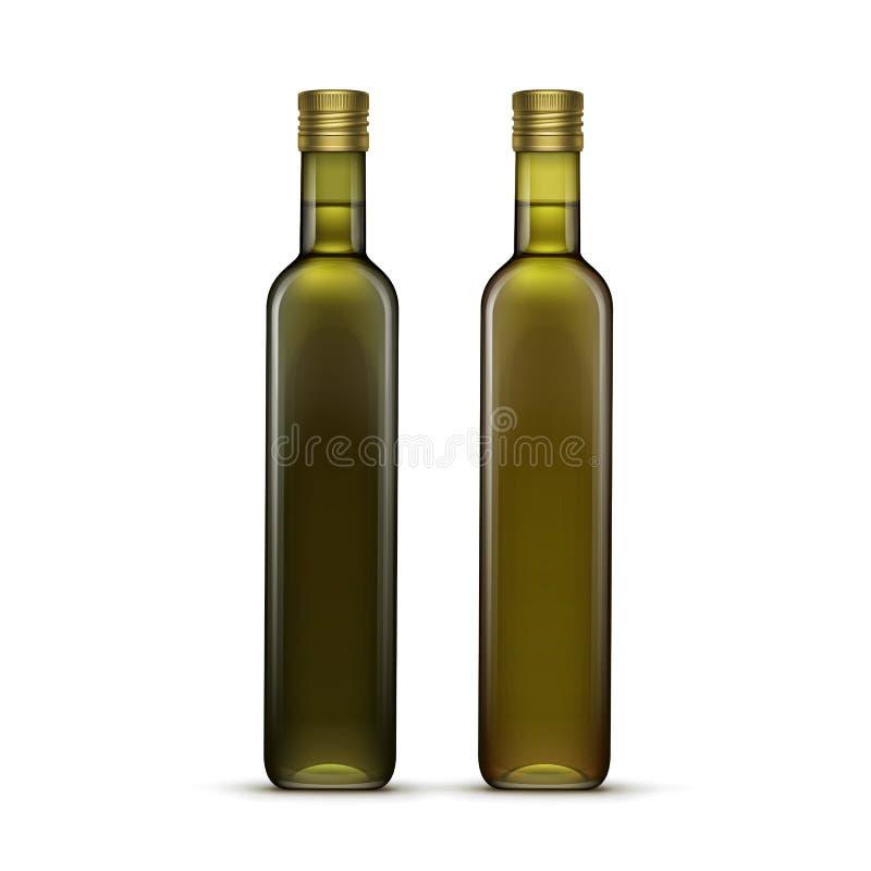 Διανυσματικό σύνολο μπουκαλιών γυαλιού ελιών ή ηλιέλαιων απεικόνιση αποθεμάτων