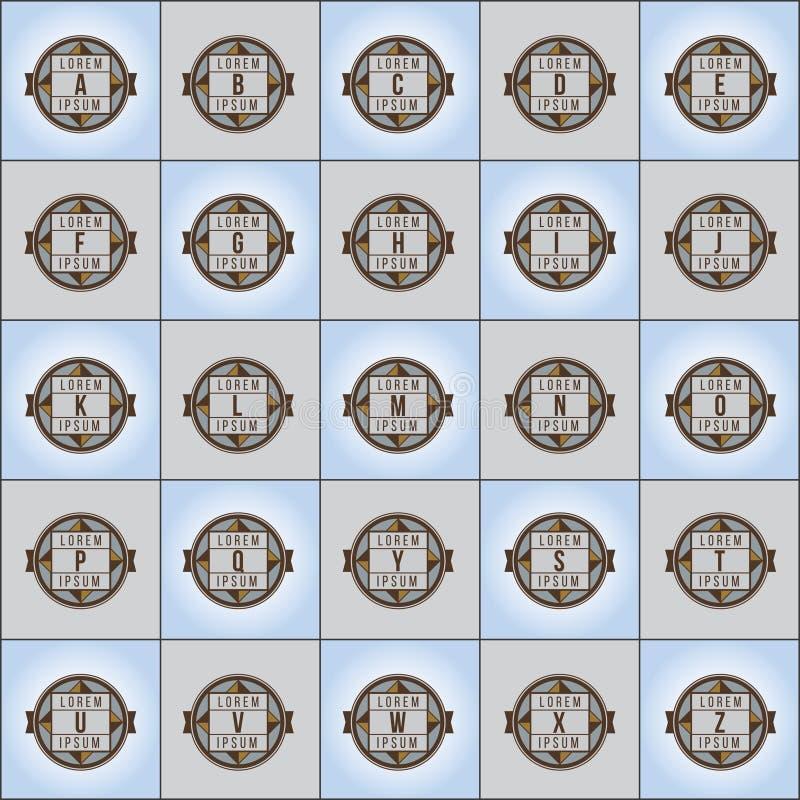 Διανυσματικό σύνολο λογότυπων επιστολών μορφής πυξίδων διανυσματική απεικόνιση