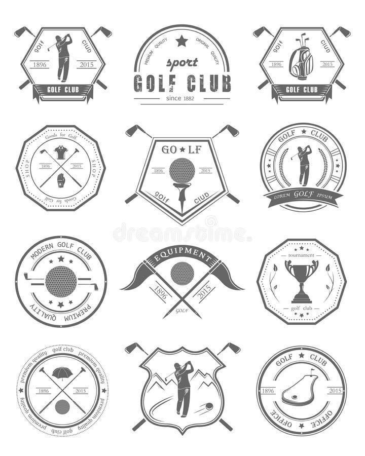 Διανυσματικό σύνολο λογότυπων και γκολφ κλαμπ εικονιδίων ελεύθερη απεικόνιση δικαιώματος