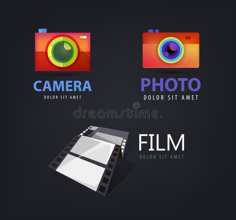 Διανυσματικό σύνολο λογότυπων καμερών, εικονίδιο ταινιών διανυσματική απεικόνιση
