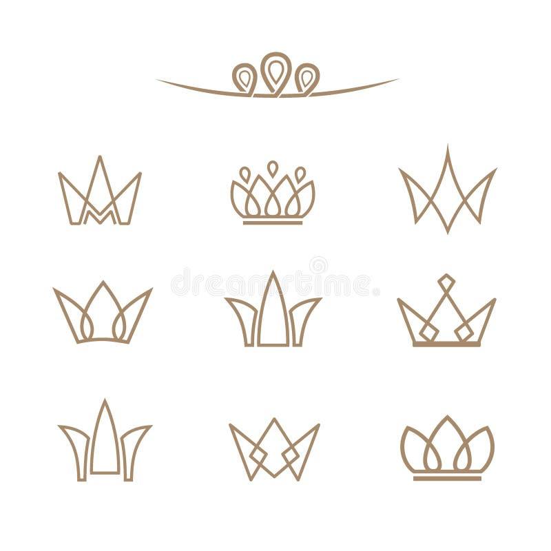 Διανυσματικό σύνολο λογότυπων Κορώνες σε ένα ύφος γραμμών ελεύθερη απεικόνιση δικαιώματος