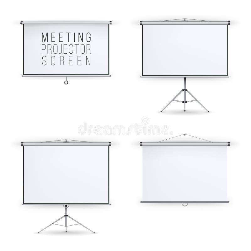 Διανυσματικό σύνολο οθόνης προβολέων συνεδρίασης Άσπρη διάσκεψη παρουσίασης πινάκων με το τρίποδο και την ένωση Κενή άσπρη παρουσ απεικόνιση αποθεμάτων
