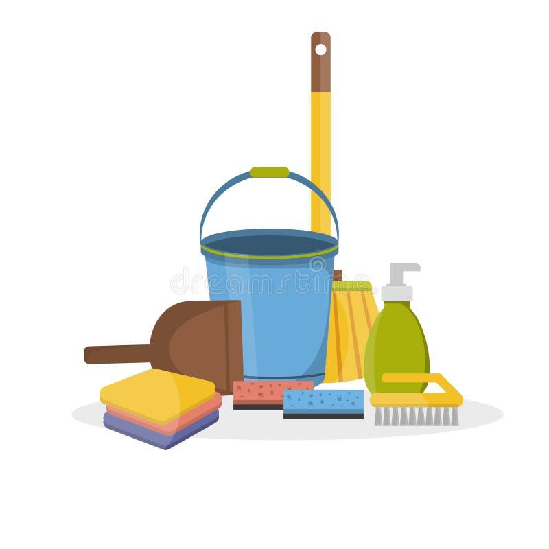 Διανυσματικό σύνολο οικιακών προμηθειών και επίπεδο εικονιδίων καθαρισμού ελεύθερη απεικόνιση δικαιώματος