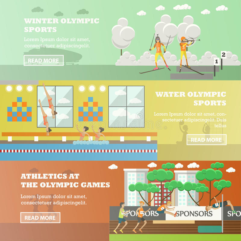 Διανυσματικό σύνολο ολυμπιακών αθλητικών επίπεδων οριζόντιων εμβλημάτων διανυσματική απεικόνιση