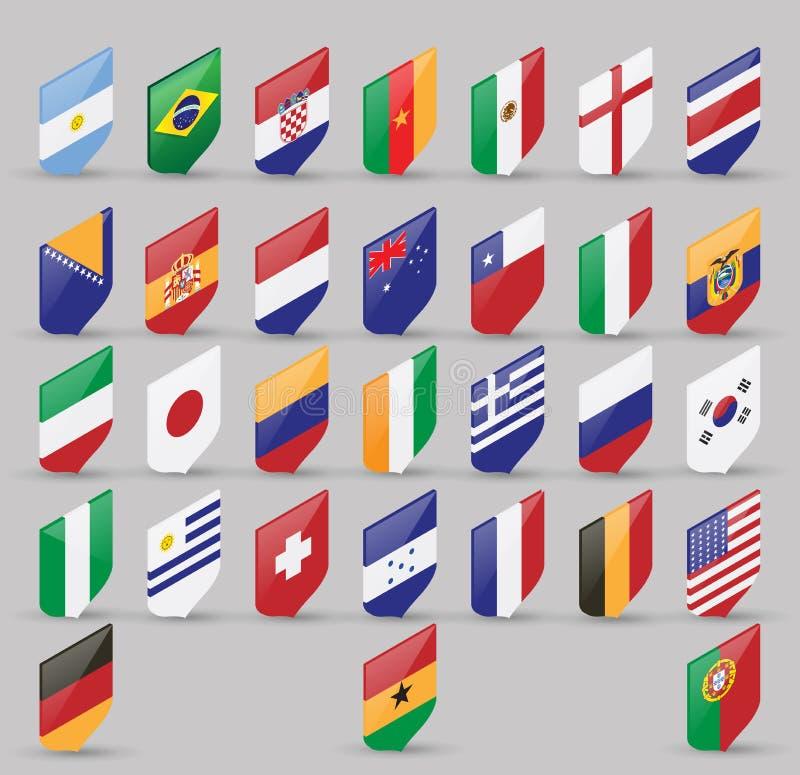 Διανυσματικό σύνολο παγκόσμιων σημαιών των κυρίαρχων κρατών Isometric άποψη που απομονώνεται στο γκρίζο υπόβαθρο διανυσματική απεικόνιση