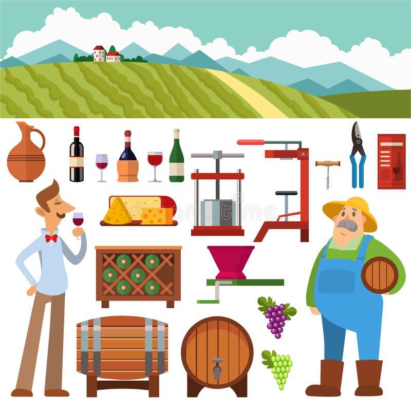 Διανυσματικό σύνολο παραγωγής κρασιού ελεύθερη απεικόνιση δικαιώματος